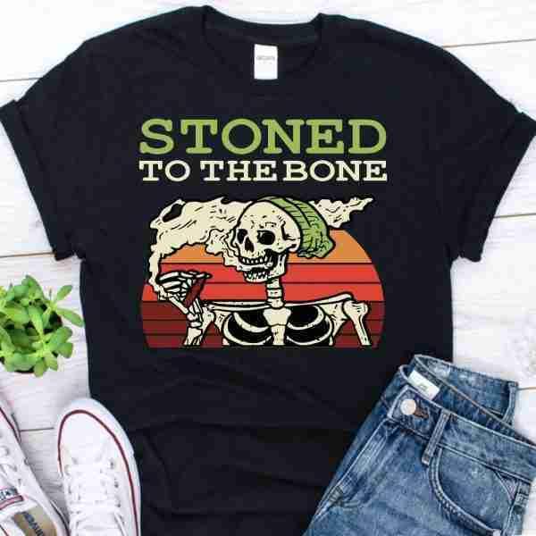Stoned To The Bone Skeleton Smoking Weed shirt